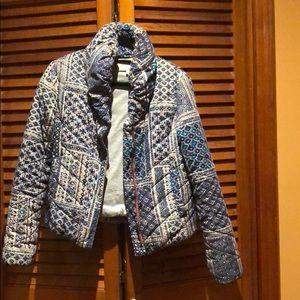 Anthropologie Printed puffer coat.